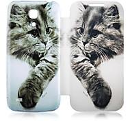 Cuero del patrón del gato de la caja de cuerpo completo para Samsung Galaxy S4 Mini I9190