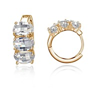 Lady`s Rhinestone Jewelry 18k White/Rose Gold Plated Shining Austria Crystal Hoop Earrings