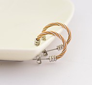 Fashion Barbell Colour Gold  316L Stainless Steel Twist Hoop Earrings