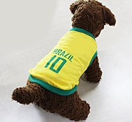 Dog Shirt / T-Shirt Jersey Yellow Dog Clothes Summer Letter & Number Sports