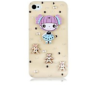 Pearl and Girl Pattern Back Case for iPhone4/4S