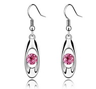 Fashion (Drop Shape) Silver Crystal Drop Earrings(Pink,Navy,White,Purple) (1 Pair)