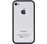 Transparent PC Hard Case with Silicone Soft Frame and Home Button Sticker for iPhone 4/4S (Assorted Colors)