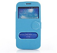 For Samsung Galaxy Case with Windows / Flip Case Full Body Case Solid Color PU Leather Samsung Grand 2