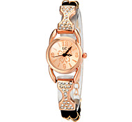 Women's Diamante Rose Gold Round Dial PU Band Quartz Analog Fashion Watch(Assorted Color)