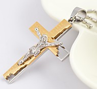 Fashion Gold/Silver/Black Jesus Cross Titanium Steel Pendant