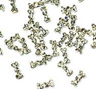 10er Bowknotform Silber Diamant verzierte Nail Art Leichtmetallschmuck