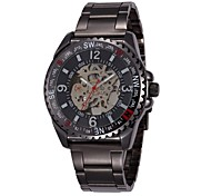 SHENHUA Men's Hollow Out Mechanical Stainless Steel Wrist Watch