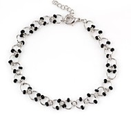 Lady's Black Bead Metallic  Anklets
