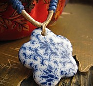 National Wind Pentagram  Blue And White Porcelain Necklace
