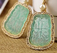 Pale Green Embossed Flower Earrings (1 Pair)