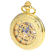 Men's Mechanical Hollow Dial Gold Alloy Pocket Watch