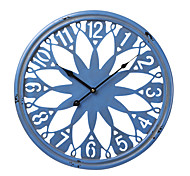 "18""H Retro Floral Blue Wall Clock"