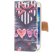 Heart Shape Gift Box Style Leather Case with Card Slot and Stand for Samsung Galaxy S4 Mini i9190