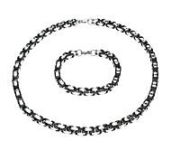 European Black Joint Silver Titanium Steel Chain Necklace (1 Pc)