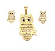 Owl Pattern Metallic With Diamond Drop Earring(1set)