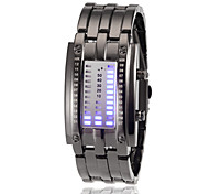 Mujeres Digit Display Blue Steel banda reloj de pulsera digital LED (Light Assorted Colors)