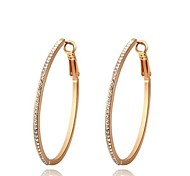 Gorgeous Fashion Jewelry Gold plated with Rhinestone Hoop Earrings(one pair)
