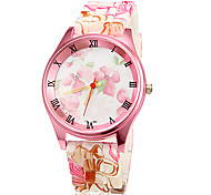 Women's Pink Flower Pattern Silicone Band Quartz Wrist Watch