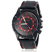 Men's Fashionable Round Dial Silicone Band Quartz Analog Wrist Watch (Assorted Color)