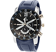 Men's Sport Watch Quartz Calendar Silicone Band Black Navy Brand