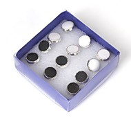 Women's Round Allergy Free with Plated Silver Plastic Earring 6pairs
