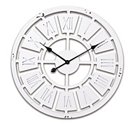 "24""H White Modern Style Wood Wall Clock"