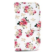 Rose Flower Pattern PU Leather Case with Card Slot and Stand for Samsung Galaxy S3 mini I8190