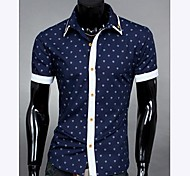 Men's Splicing Color Polka Dots Casual Short Sleeve Shirt