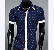 Casual Shirt Empalme color de los lunares de manga corta de los hombres