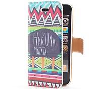 Hakuna Matata style Flip Case en cuir avec le stand et le logement pour carte pour l'iPhone 5/5S