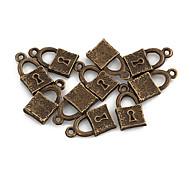 Tiny Lock-Bronze-Legierung Charms 10 Stück / Beutel