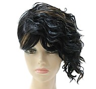 Capless Synthetic Short Black Mixed Golden Short Wave Full Wig