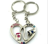 (2 PC)Beautiful Fashion Heart-Shaped Puzzle Creative MISS YOU Couple Of High-Grade Stainless Steel Keychain