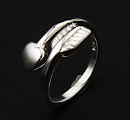 Fashion Sagittate With Heart Shape Women'S Adjustable Band Rings(Silver)(1 Pc)