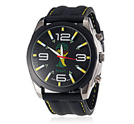 Men's Soccer World Cup Theme Black Silicone Band Quartz Wrist Watch (Assorted Colors)