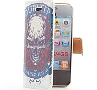 Rose and Skull Style Flip Leather Case with Stand and Card Slot for iPhone 4/4S