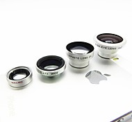 Magnetic 4 em 1 lente grande angular / lens/180 Macro Fish Eye Lens / 2X Kit Set para iPhone 5/4 / iPad / Celular-Silver