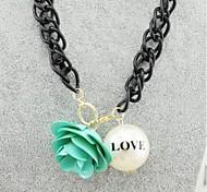Fashion  (Geometric) Black Alloy Pendant Necklace(Light Blue,Pink,Rose) (1 Pc)
