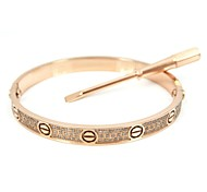 Fashion Gold/Silver/Rose Gold Screw Pattern Titanium Steel Diamond Studded Blange with Screwdriver