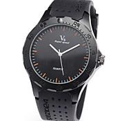 Quartz en caoutchouc noir Bande analogique bracelet pour hommes