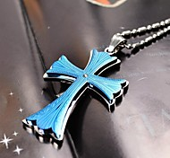 Fashion Men's Multicolour Cross 316L Stainless Steel Pendant Necklace