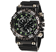Men's Aviator Style Fashion Black Dial Silicone Band Quartz Wrist Watch (Assorted Colors)