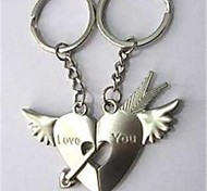 (2 PC) Beautiful Fashion Wings Heart An Arrow Through A Heart High-Grade Stainless Steel Couple Keychain