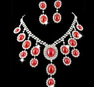 Sistemas de la joyería nupcial de la boda de dama de honor Perlas Rojas Rhinestone Crystal Celebrity Inspired