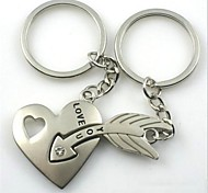 (2 PC)Beautiful Fashion Hearts And Arrows An Arrow Through A Heart High-Grade Stainless Steel Couple Keychain