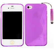 S-Shaped TPU Soft Back Cover and Touch Screen Pen Case for iPhone 4/4S(Assorted Colors)