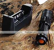 CREE Q5 LED 7W 300LM 3-Mode Adjustable Focus Zoomable Mini Flashlight + 2*14500 1200mAh Batteries + Battery Charger