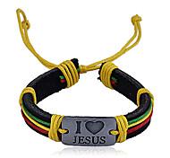 "Lureme®Vintage ""I Love Jesus"" Pattern Woven Bracelet (Random Colors)"