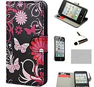 COCO FUN ® Gerbera Wallet Card Slots Full Body PU Leather hoesjes met standaard voor de iPhone 4S Inclusief Film en Stylus